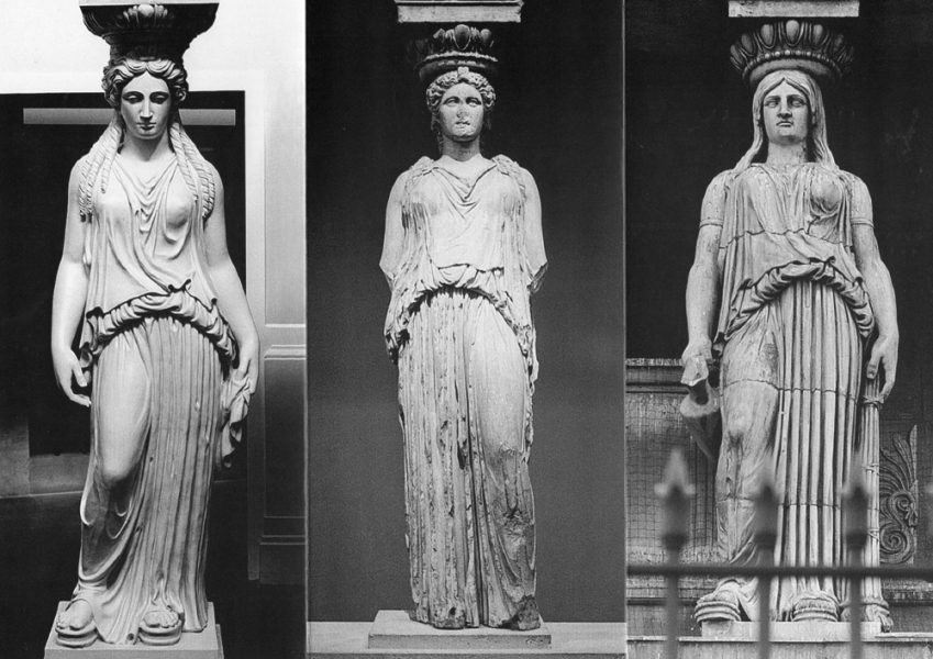 Three Caryatids, l to r: 'Bank', 'Museum' and 'Church'