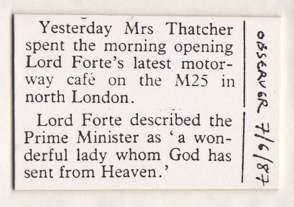 Lord Forte on Mrs Thatcher