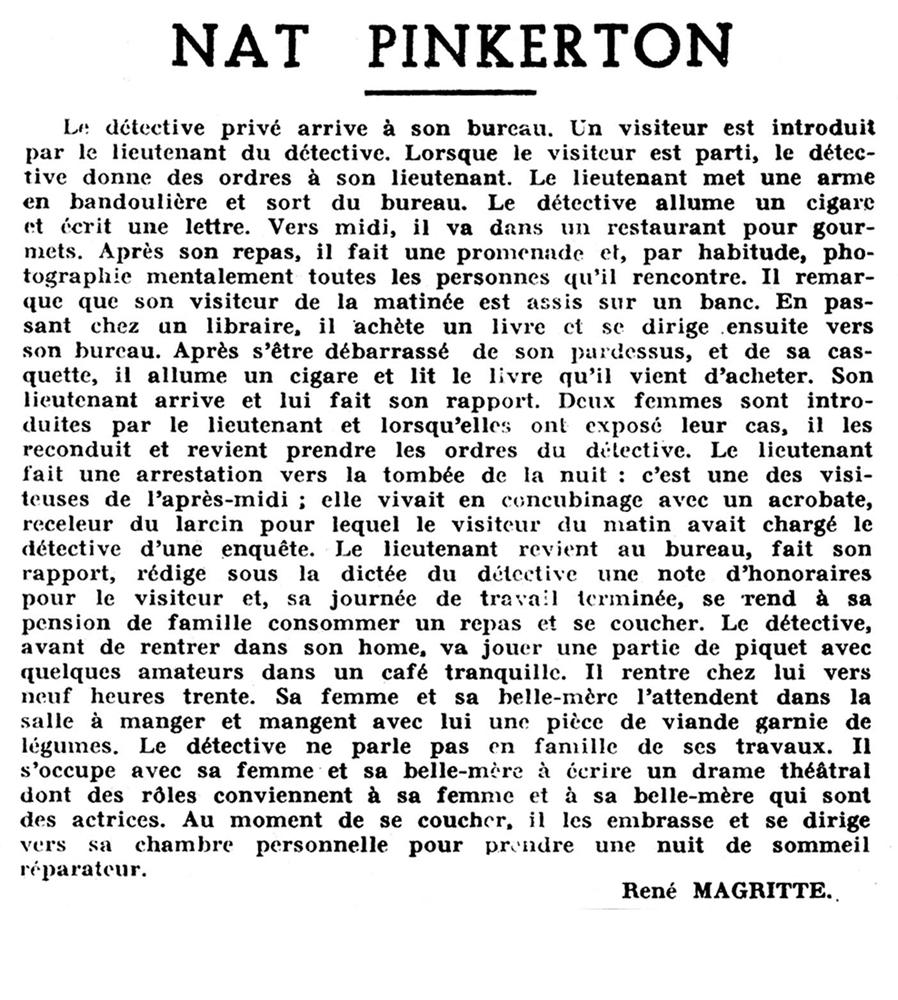 Rene Magritte: Nat Pinkerton